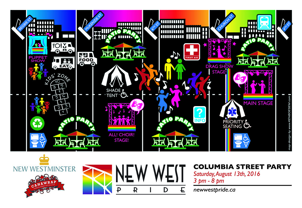 New West Pride Columbia Street Party Map (New West Pride)