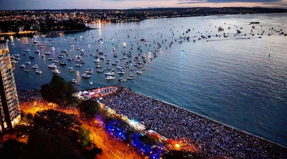 Celebration of light english bay crowds aerial