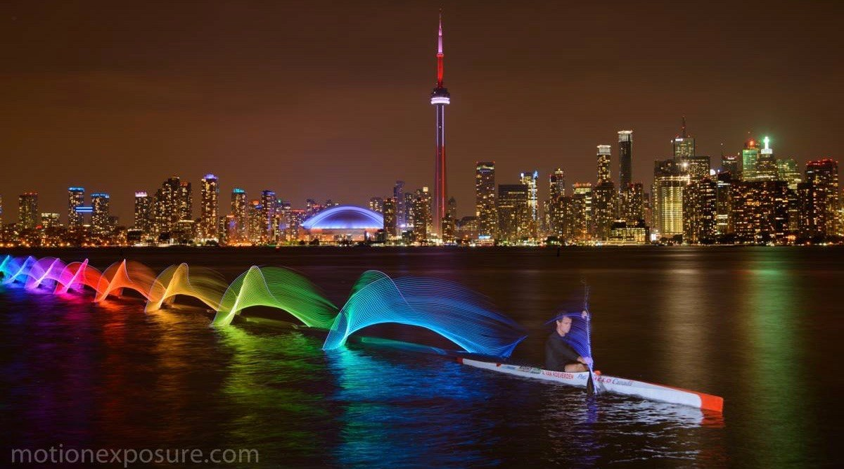 Canadian Olympian captured in spectacular motion exposure photo on Lake Ontario