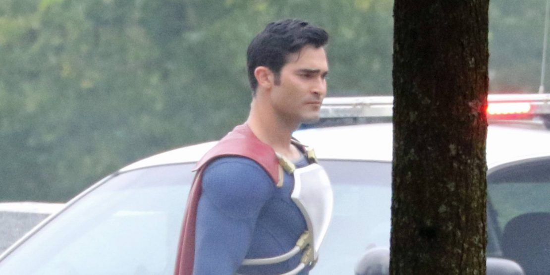 Tyler Hoechlin fights villains on the Vancouver Supergirl set (PHOTOS)