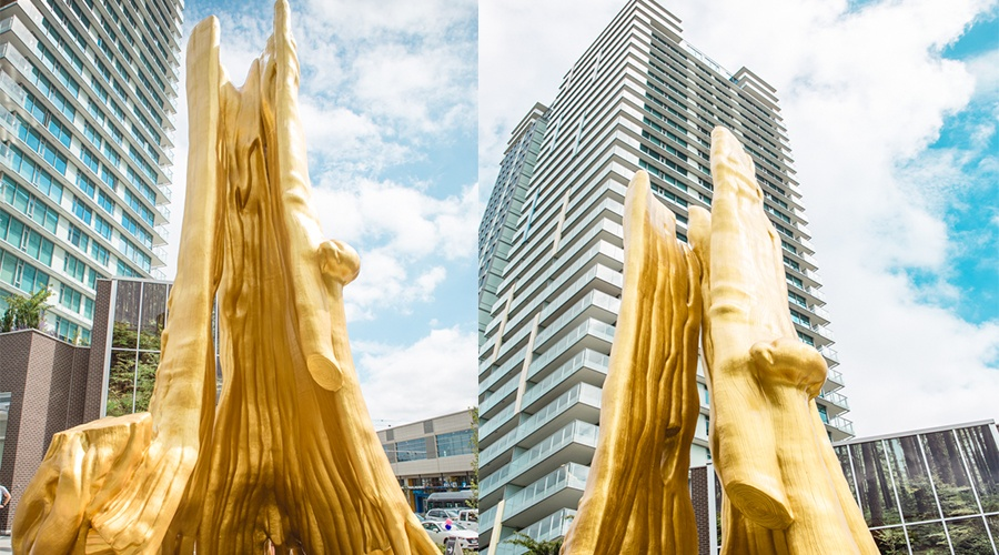 New 43-foot-high Golden Tree by Douglas Coupland unveiled in Vancouver (PHOTOS)