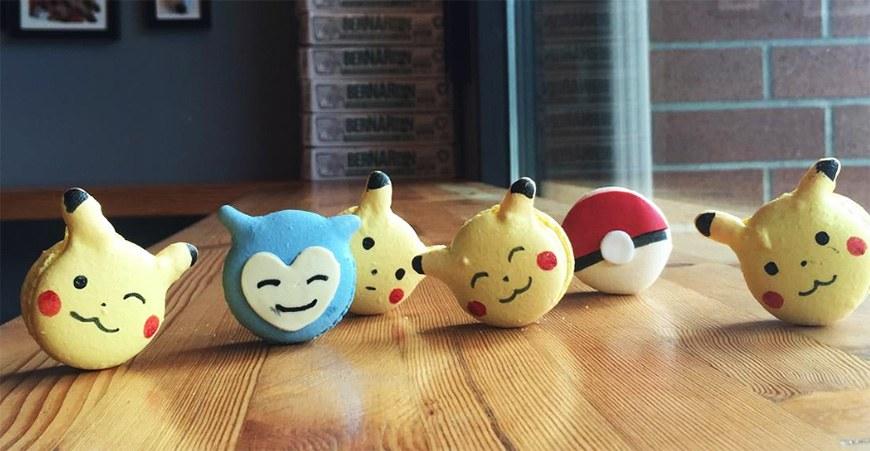 Pikachu macaron crackle creme