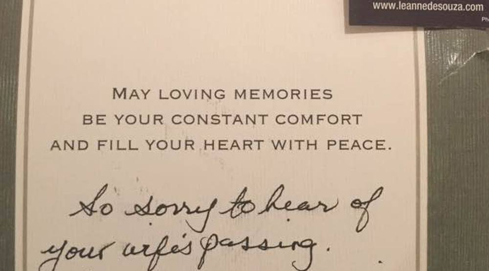 realtors send sympathy note with business cards attached to grieving