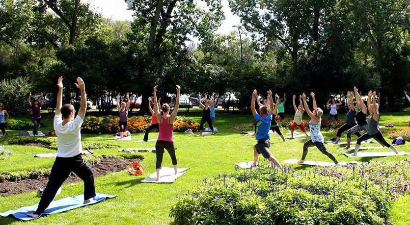 Free outdoor yoga means summer in Stanley Park