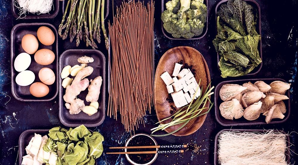 Asian ingredients top view