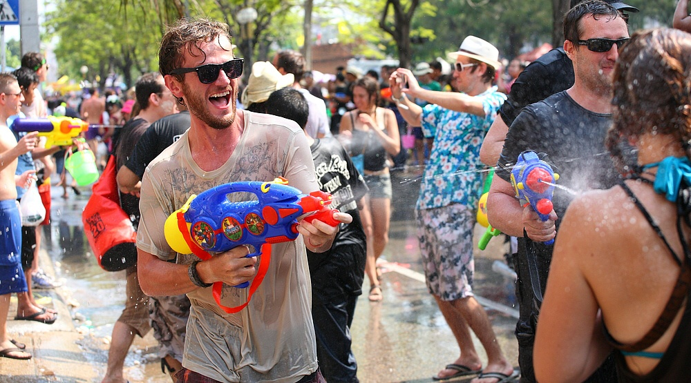 water gun fight
