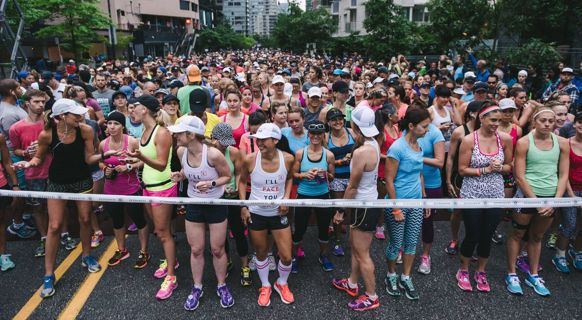 Runners get ready for a previous seawheeze half marathon in vancouver seawheeze lululemon half marathonfacebook