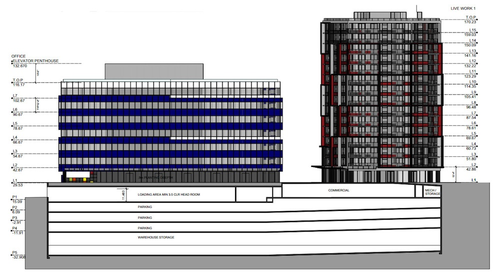 Rubik-cube inspired hotel, office, and residential complex proposed for False Creek Flats
