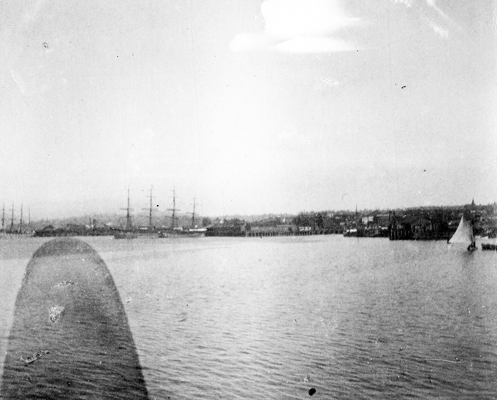 1898: In this grainy photo there are some ships in Vancouver's harbour. (Vancouver Archive)
