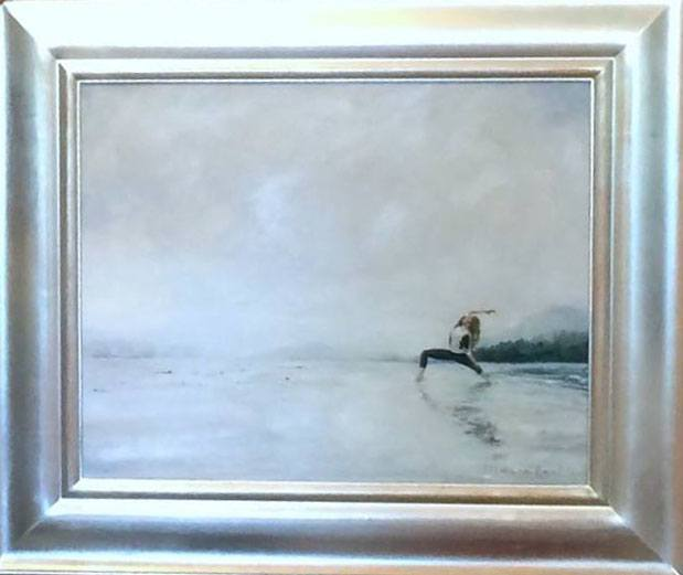 Lankin's painting of Sophie Grégoire Trudeau doing yoga on the beach (Deanna Lankin/Facebook)
