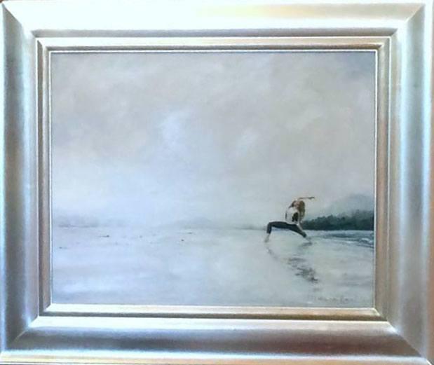 Lankin's painting of Sophie Grégoire Trudeau doing yoga on the beach (Deanna Lankin/Facebook)