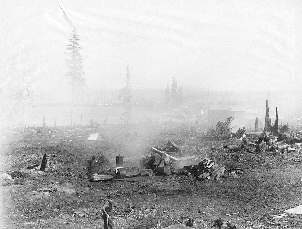 1886: This photo was taken from what is today Hastings and Seymour, looking back towards early Vancouver. (Vancouver Archives)