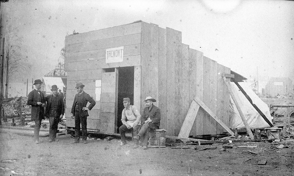 1886: After almost all of Vancouver was destroyed in the fire rebuilding began within hours. (Vancouver Archives)
