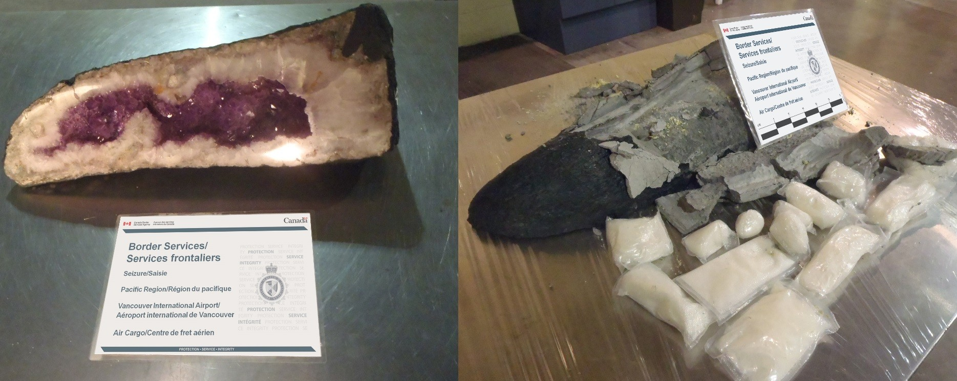 This supposed amethyst was found to contain methamphetamine (CBSA)