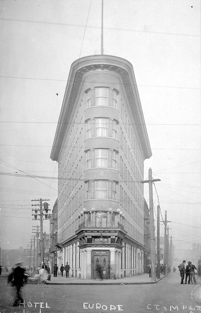 1908: The Hotel Europe here was meant to be one of the most luxurious and classy hotels in Vancouver. (Vancouver Archives)