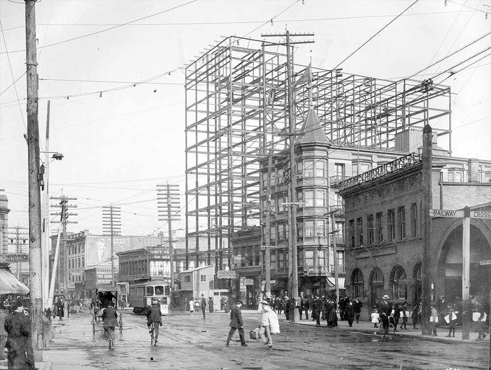 1910: The Holden Building, one of Vancouver's first skyscrapers. (Vancouver Archives)