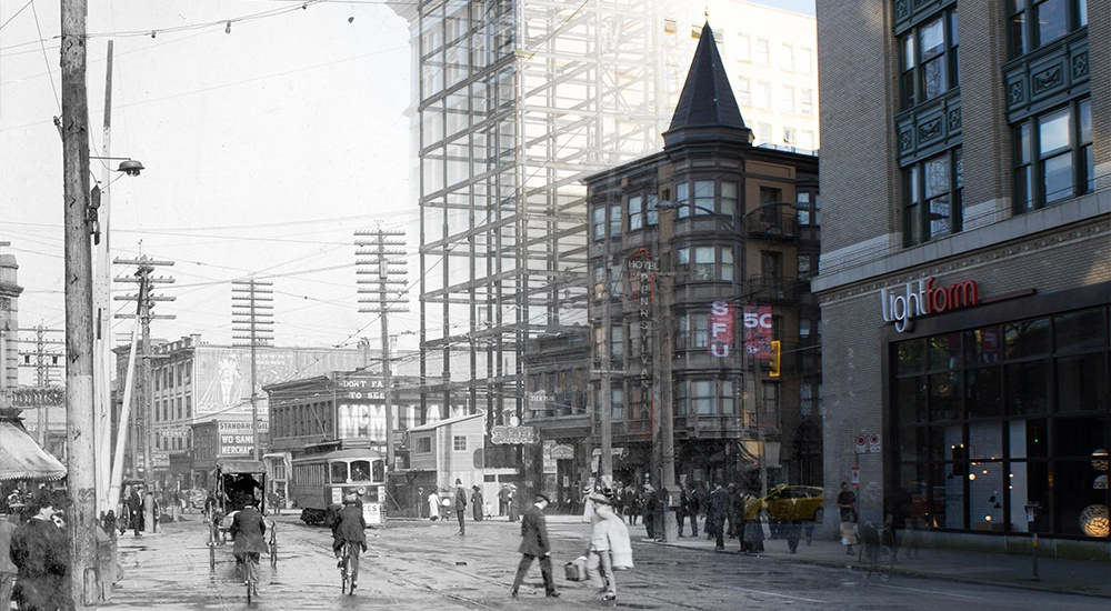Create your own then and now photo mash up of vancouver with the on this spot app vancouver archives on this spot1