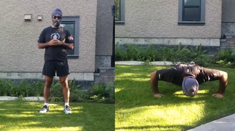 Harjit Sajjan does the 22 pushup challenge to support veterans' mental health