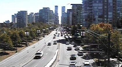 Webcam shot taken looking southbound on the exit of the stanley park causeway into west georgia street as of friday at 1254 pm drive bc