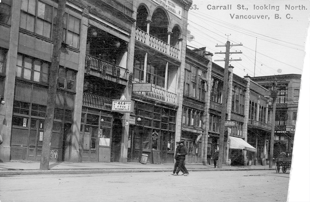 1910s: Distinctive commercial buildings in Chinatown. (Vancouver Archives)