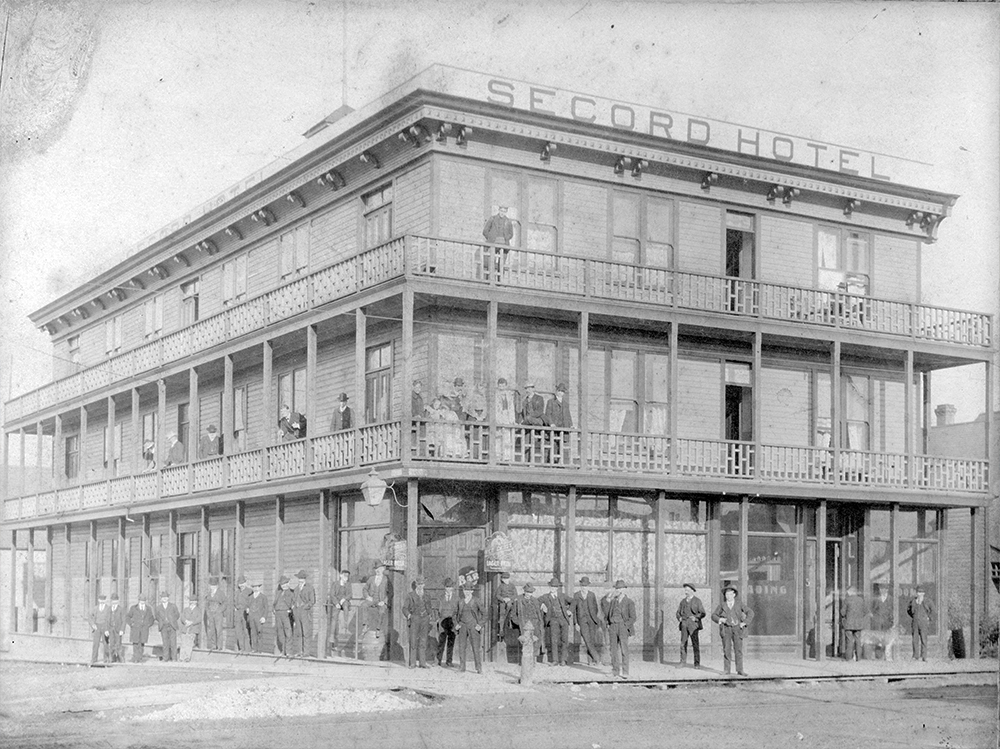 1890: The Secord Hotel on Powell and Dunlevy offered cheap room and board. (Vancouver Archives)