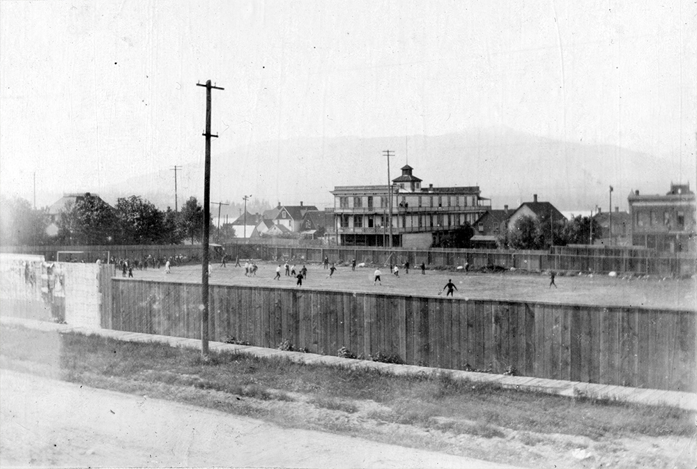 1897: A baseball game on the Powell Street Grounds, today's Oppenheimer Park. (Vancouver Archives)