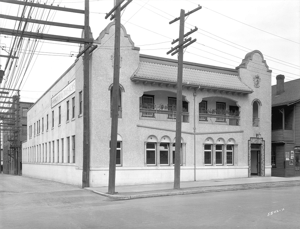 1927: This was the headquarters of the Tairiku on Cordova Street, the second of eventually four Japanese newspapers in Japantown. (Vancouver Archives)