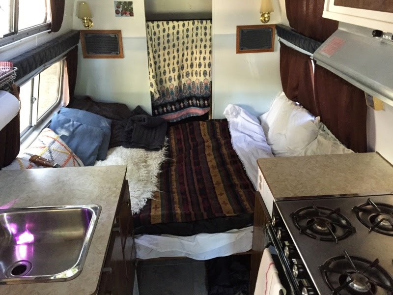 The bed setup in Emily Chamber's van (Emily Chambers)