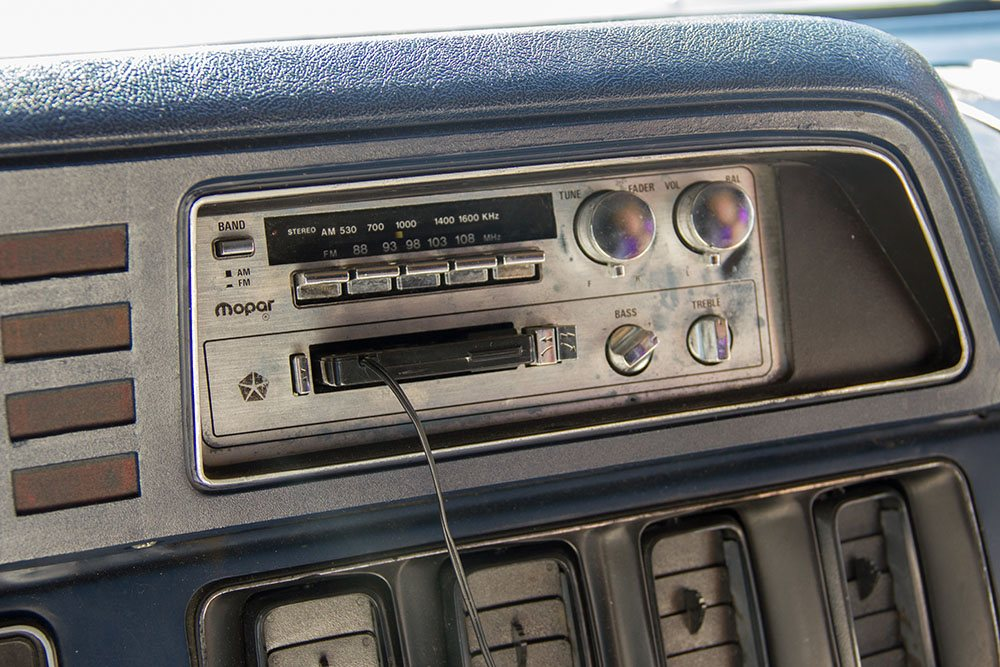The original tape deck in Emily Chambers' van (Jenni Sheppard/Daily Hive)
