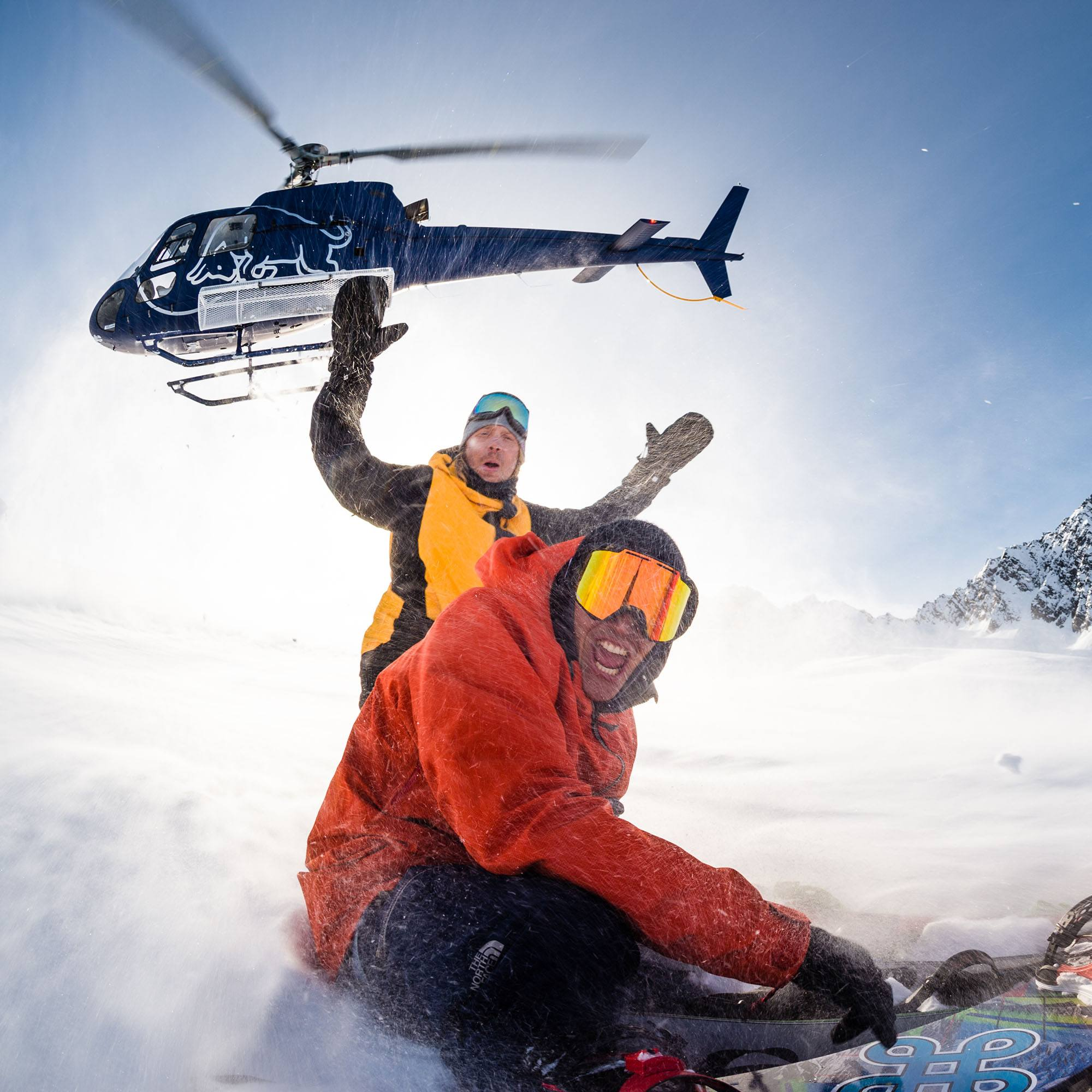 Travis Rice and Victor De Le Rue get dropped off by helicopter during filming of The Fourth Phase (Tim Zimmerman/Red Bull)