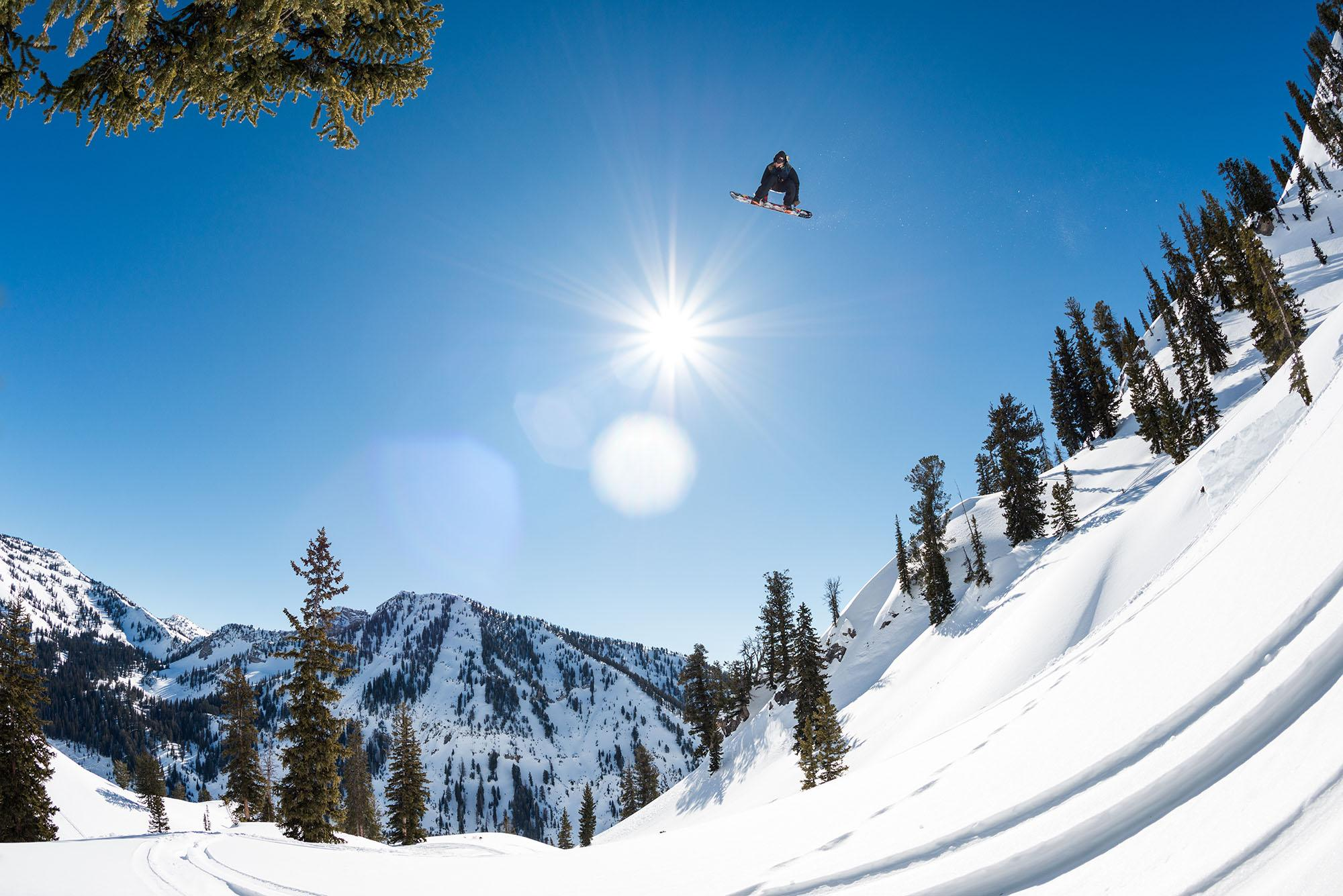 Travis Rice snowboarding in Jackson Hole, Wyoming during filming of The Fourth Phase (Tim Zimmerman/Red Bull)