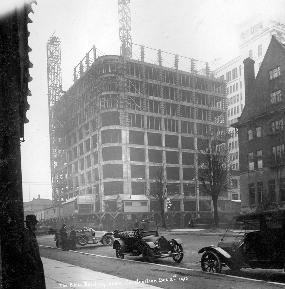 1912: This was the Birks Building under construction, perhaps the saddest example of heritage destruction in Vancouver's history. (Vancouver Archives)