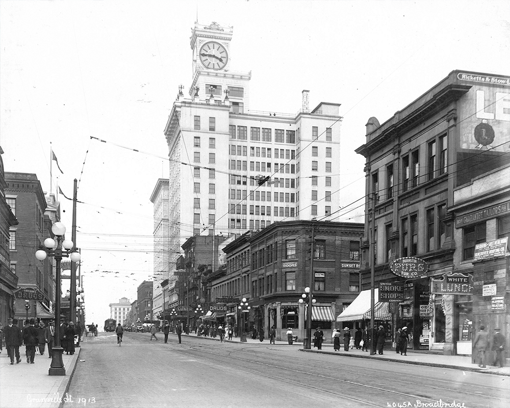 1913: The Vancouver Block dominates this area of Granville Street. (Vancouver Archives)