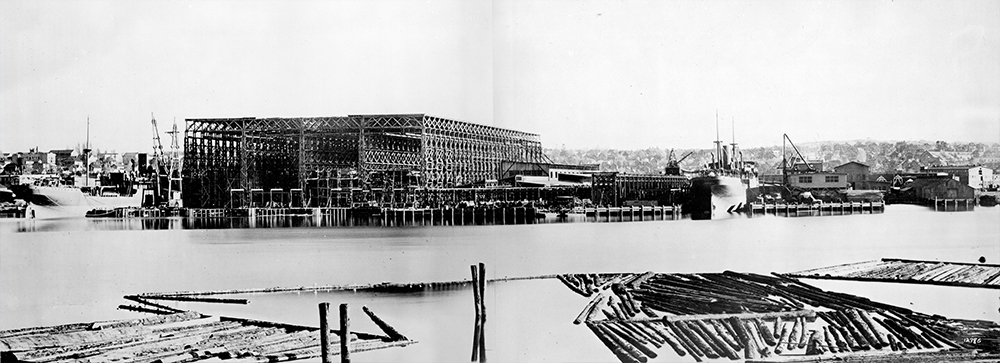 1939: This was West Coast Shipbuilders, once located at today's Olympic Village. (Vancouver Archives)