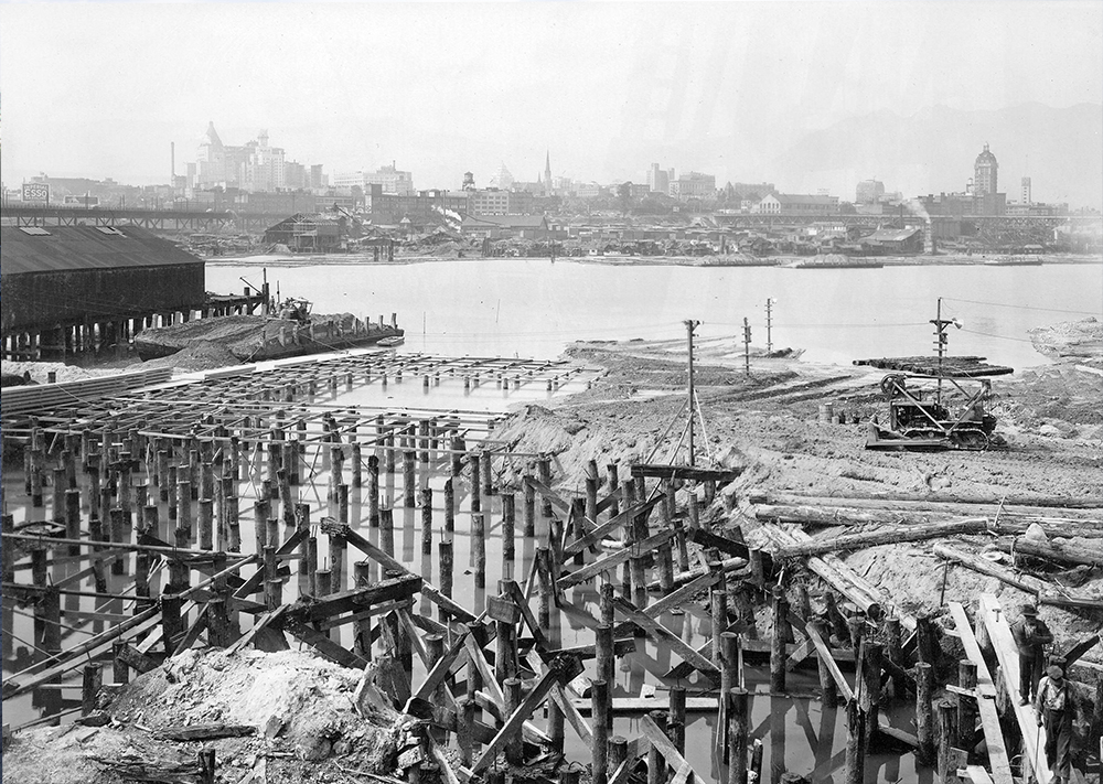 1941: This view from one of the shipyard's berths as it was being expanded for mass production of Park Ships. (Vancouver Archives)