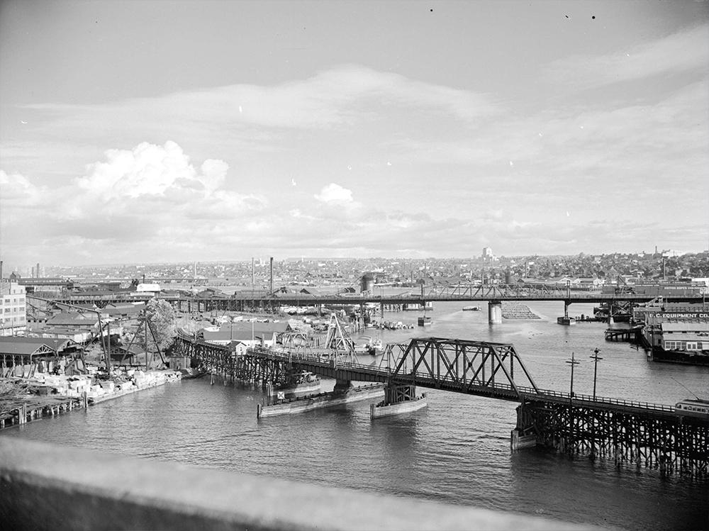 1941: A view of wartime industrial False Creek taken from the Burrard Street Bridge. (Vancouver Archives)