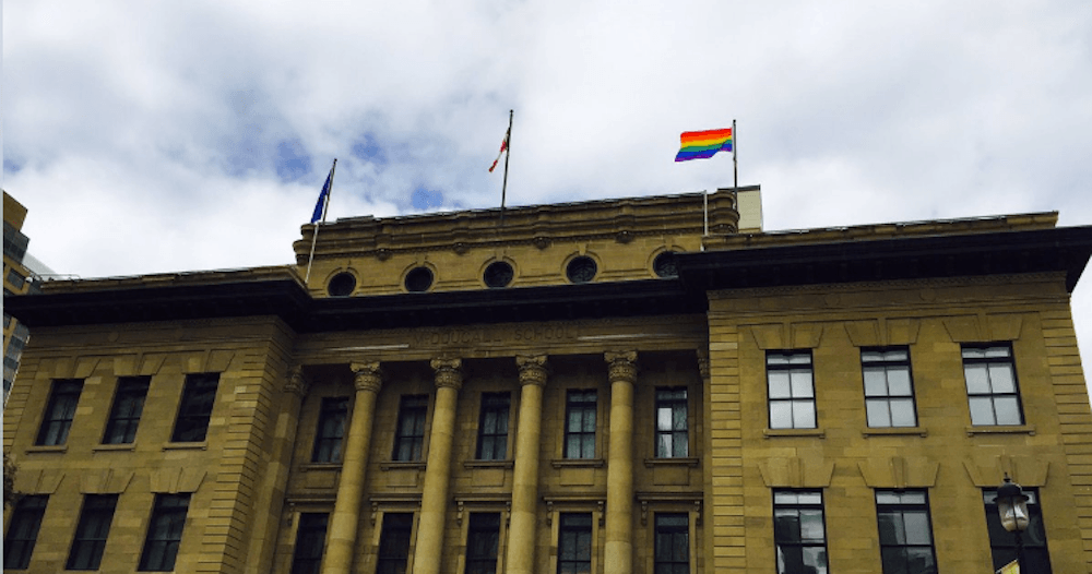Pride Flag raised for the first time at Calgary's McDougall Centre (Photos)