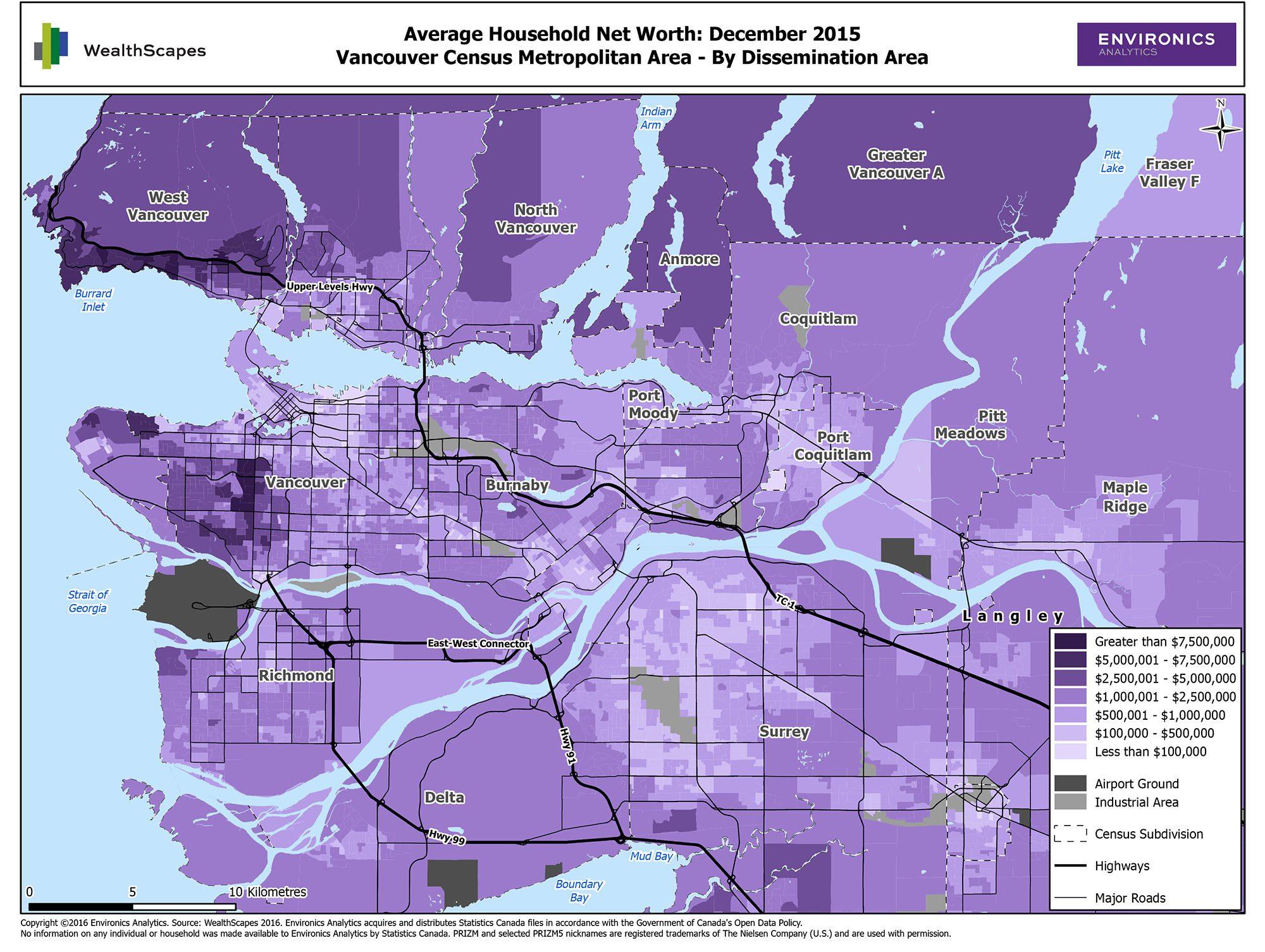 Map of Average Household Net Worth in Vancouver Census Metropolitan Area (Environics Analytics)