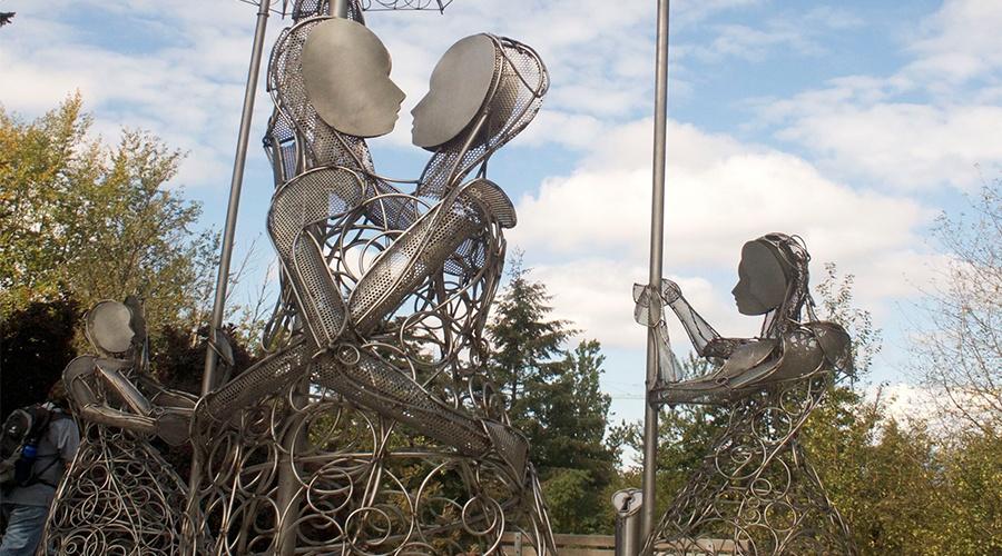 Love lock sculptures