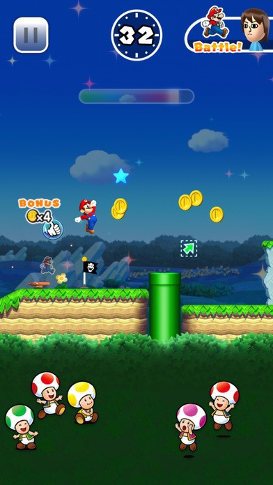 A screenshot of the new Super Mario Run game battle mode coming soon to the new App Store (Apple)