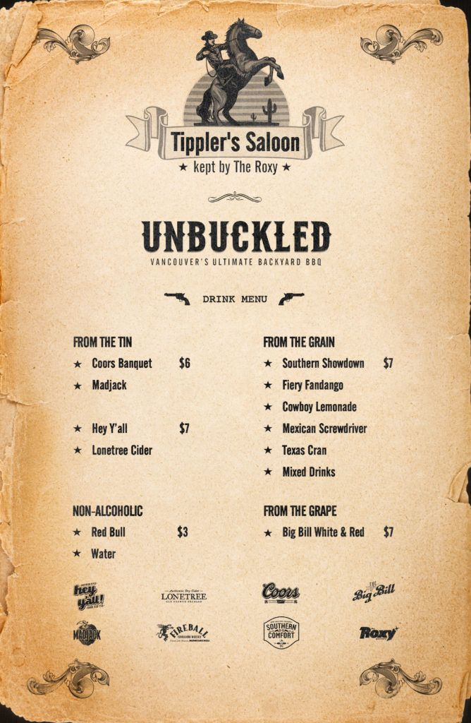 The Tippler's Saloon drinks menu for this year (Unbuckled)
