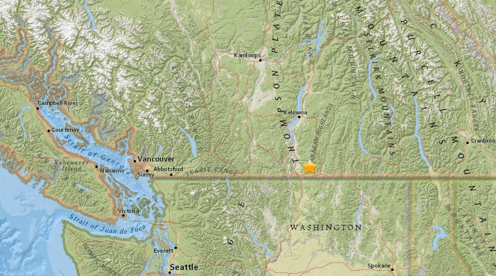 Magnitude 4.2 earthquake felt in Okanagan Valley