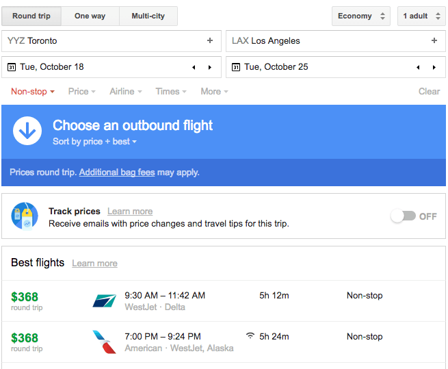 Fly Toronto to LA