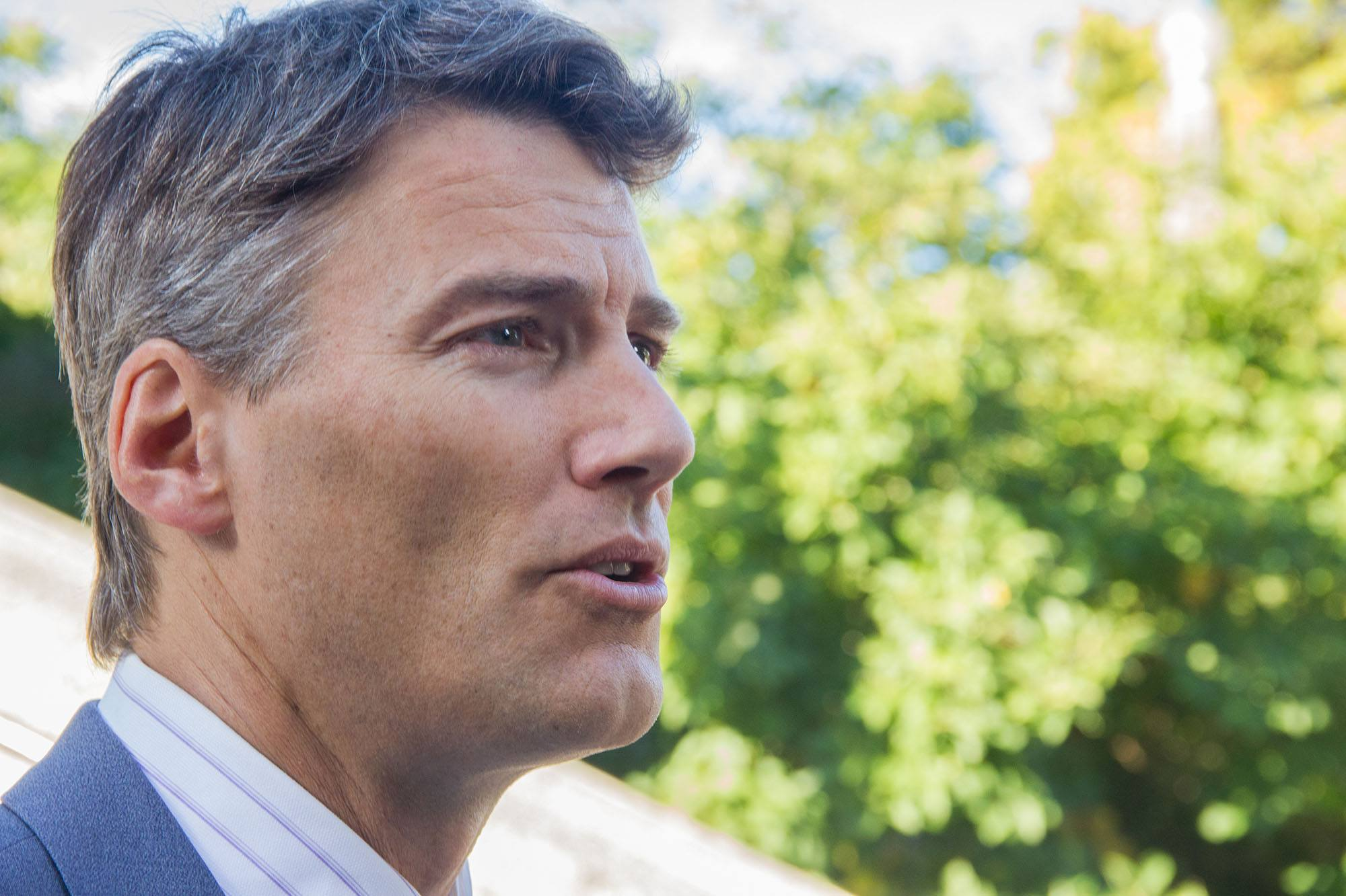 Gregor Robertson speaking about the empty homes tax outside Vancouver City Hall (Jenni Sheppard/Daily Hive)