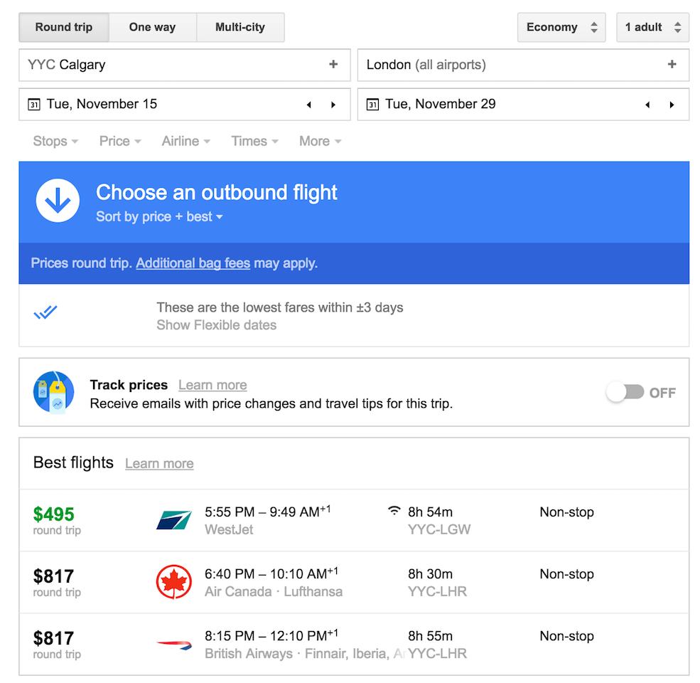 Image: Google Flights