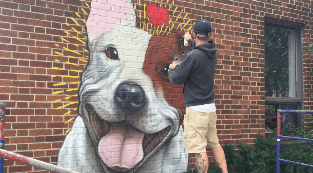 Montreal artist has created a second mural to protest the pit bull ban