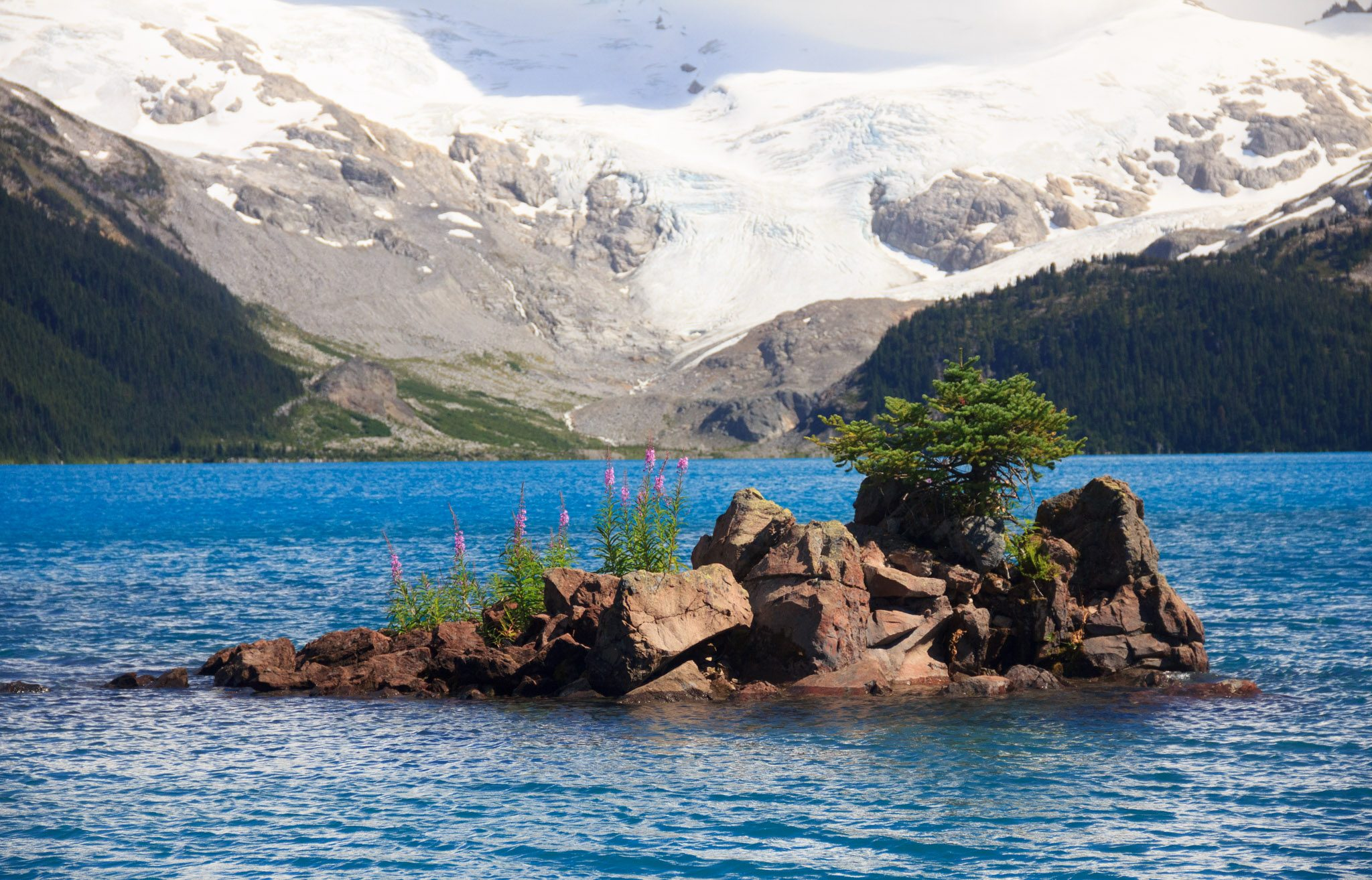 Small island, big glacier at Garibaldi Lake (Daily Hive/Conrad Olson)