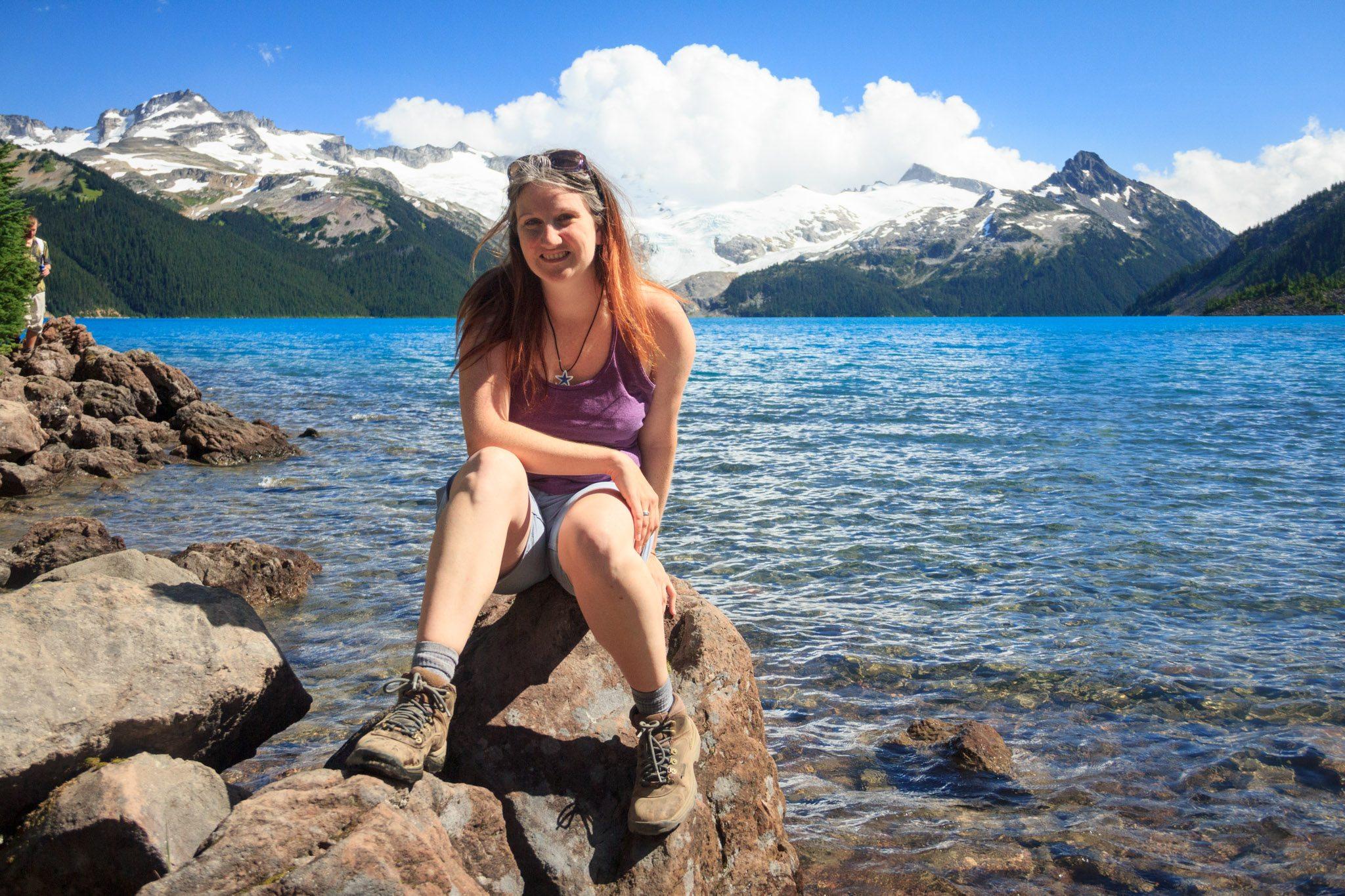 Daily Hive's Jenni Sheppard at Garibaldi Lake (Daily Hive/Conrad Olson)