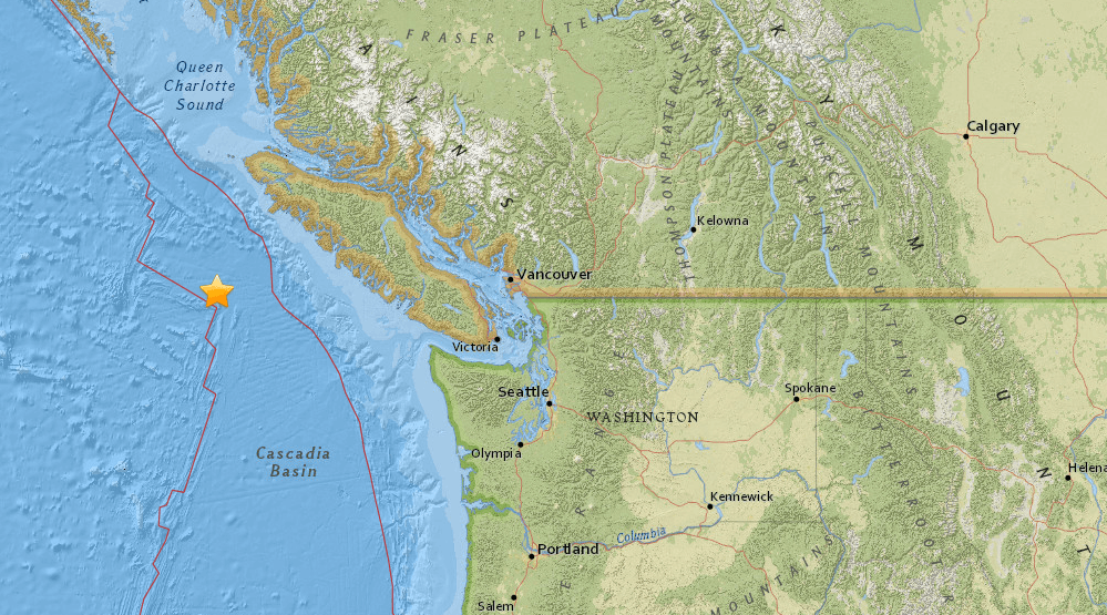 Magnitude 4.4 earthquake detected off the coast of Vancouver Island
