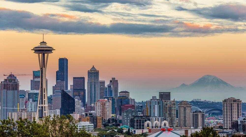 Seattle skyline mount baker space needle